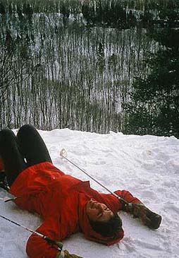 skier on a break